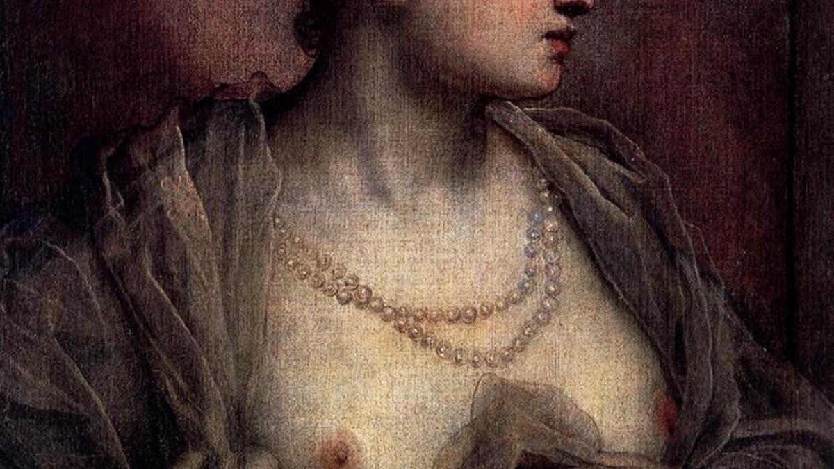 Тинторетто женщина обнажающая грудь